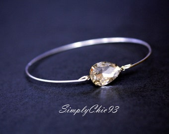 Single tear drop crystal Bangle bracelet