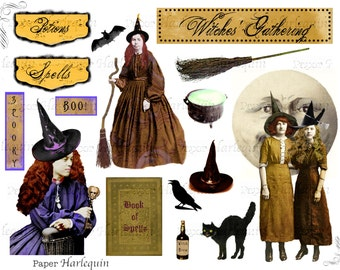Witch Digital Collage Printable for ATC, Scrapbook, Altered Art, Cards, Invites, Decor, Albums