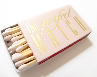 The Perfect Match Matchbox Wedding Favor Foil Stamped Personalized Matches Sparklers Rehearsal Bridal Shower - Canada Shipping