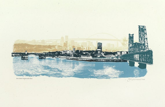 12.5x19 The East Bank Esplanade View of Portland, OR Art Print