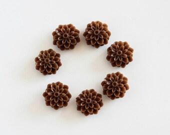 5 pcs Brown resin flowers / Resin cameo / Resin cabochon