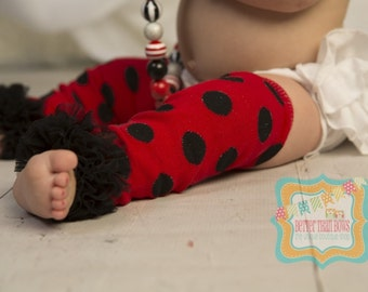 DIY Girl's Ladybug Leg Warmers with Black Chiffon Ruffle-Red and Black Leg Warmers-Girls Leggings-Sz 6mo-8yrs-WHOLESALE