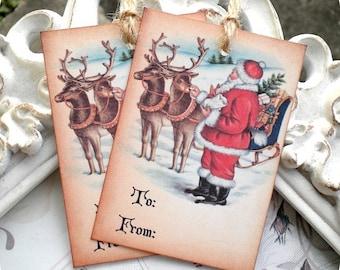 Santa Gift Tags (6) Christmas Tags-Santa Tags-Holiday Tags-Reindeer Tags-Santa Treat Tags-Favor Tags-Santa Claus Tags-Shabby Christmas Tags