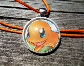 Charmander Cute Circle Pendant made from Trading Cards