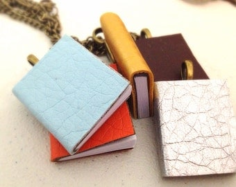 Miniature Leather Book Necklace. Writer. Note. Orange. Blue. Brown. Silver. Gold. You Choose. Under 20. Small Book. Gift. Unique. Odd