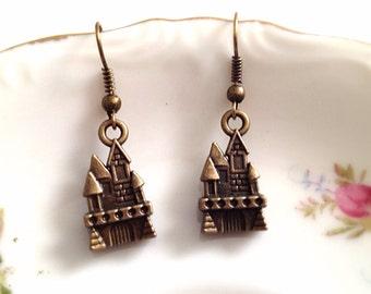 Brass Castle Charm Dangle Earrings. Fantasy. Fairy-tale. Brass Hooks. Vintage Style Brass. Fairy Land. Castle Royal Earrings. Under 10.