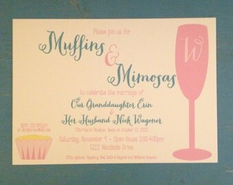 Shower Invitation, Muffins and Mimosas