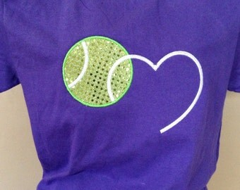 Tennis Ball Love T-Shirt - Bling Sparkle Tennis Applique - Personalized Embroidered - Custom Team Shirt