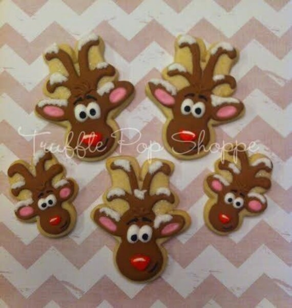 1 Dozen - Snow Capped Reindeer Decorated Cookies
