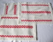 3 German Vintage White and Red Embroidered Cotton Doilies Placemats
