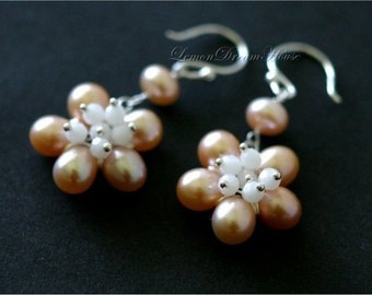 June Birthstone Earrings, Pearl Flowers, Peach Freshwater Pearls, Swarovski White Alabaster Round Beads, Sterling Silver Earwires and Wire.