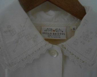 Vintage Susan Bristol Lace Doiley Blouse