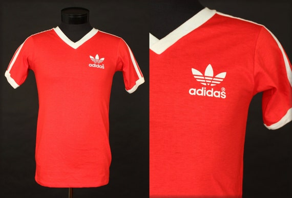 Deadstock adidas t shirt ringer red white 70 39 s 80 39 s for Adidas ringer t shirt