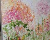 Flowers Meringue, Floral Oil,Impressionism Floral, Peach Pink Green Floral,OOAK, Abstract Floral, Impasto, FromGlenToGlen, Kathleen Leasure
