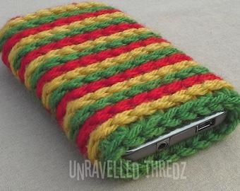 Rasta Phone Sock, Phone Cozy, Crochet Phone Case, Cell Phone Pouch