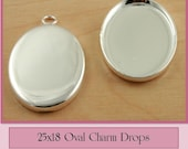 10 ct. OVAL Sterling Silver over Brass 18 x 25mm Earring or Mini Pendants Charm Drop Dangles -  Ships from USA. Glass is  Optional