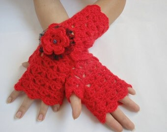 Lace Crochet Fingerless Gloves Hand Warmers Angora Soft Romantic Vintage Red black removable bracelet flower Fluffy  goat wool