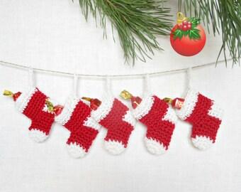 Christmas Garland Ornament Miniature Stocking Red White Set 5 Amigurumi Merino Wool