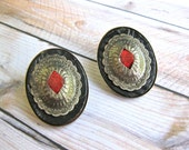 Southwestern Earrings Clip on Black Leather and Silver Domed Design Red Suede Vintage