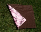 "30"" x 30"" Baby Blanket in Pink and brown polka dot Minky Type Fleece with Brown Fleece on the Back"