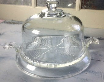 Vintage Glass Dome Cloche with Vintage Fire King Glass Hotplate
