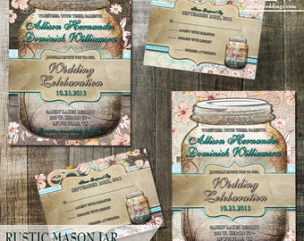 Mason Jar Wedding Invitation - Rustic Wedding – Spring Wedding Invitation – Summer Wedding Invitation – Mason Jar Invitation –Floral Wedding
