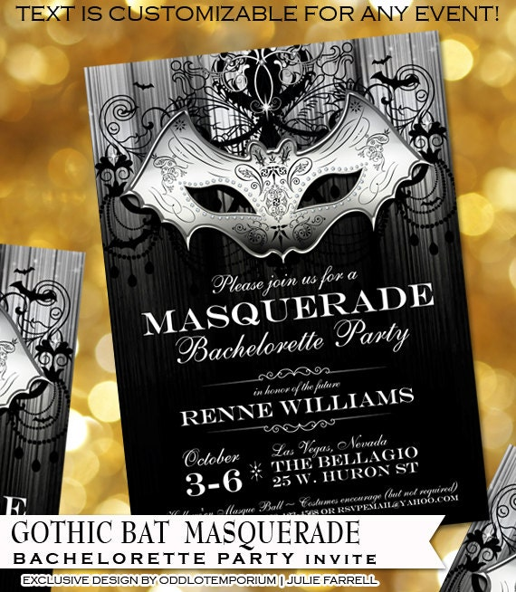 masquerade party invitation halloween party invite gothic bat mask black and white party printable offbeat party invite for any occasion - Masquerade Wedding Invitations