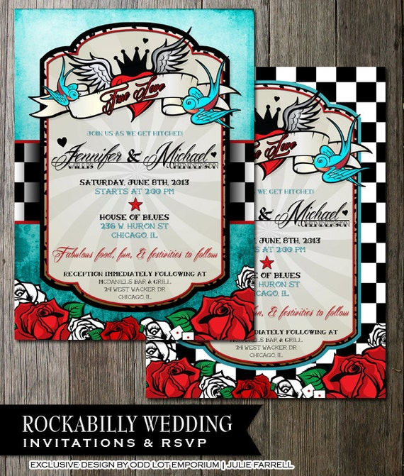 Charming Rockabilly Wedding Invitations And Rsvp | Offbeat Wedding Invite | Tattoo  Style | Roses And Checkerboard | Wedding Printable DIY Invitation