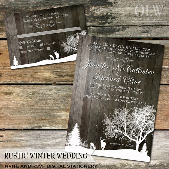 Rustic Winter Wedding Invite and RSVP Country Winter Snow