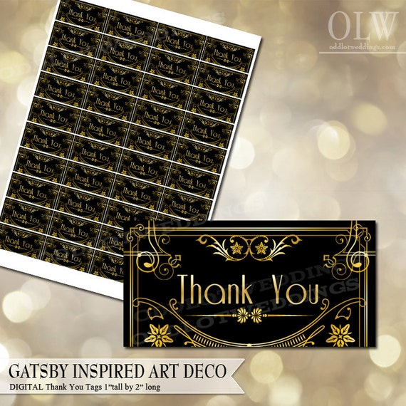 Gatsby inspired art deco thank you label diy avery labels for like this item solutioingenieria Choice Image