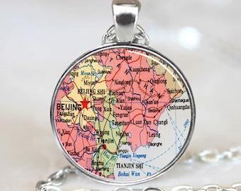 Beijing China Map  pendant charm, Beijing China Map necklace  pendant, Beijing China Photo necklace charm (PD0438)