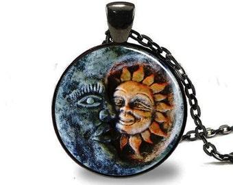 Sun and Moon Pendant, Sun and Moon Necklace, Sun and Moon jewelry, Sun and Moon Charm, Black (PD0150)