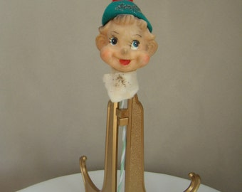 Holiday Magic Vintage Pixie Flocked Elf Pic Christmas