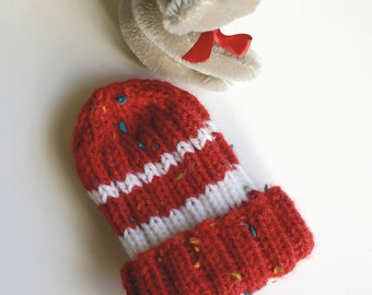 Red Preemie Baby Hat- Hand Knit Beanie- XS Knitted- Charity Donation- Boy or GIrl- Premature Infant- Free US Shipping