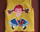 Re-Purposed Wool Girls Tunic / Dress - Raggedy Ann Applique