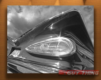 50s Car Art Print, Chevy Impala, Car Photography, Tail Fins, Car Pictures, Black and White, Chevrolet Impala, Guy Thing, Murray Bolesta