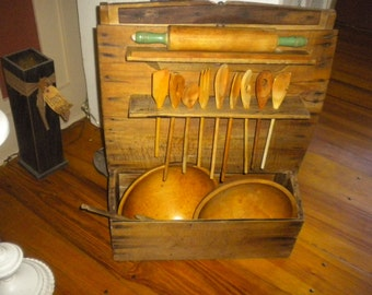 SALE.....Awesome Primitive Kitchen Bakers Bin Cabinet, Primitive, Country, Primitive Country, Farmhouse,