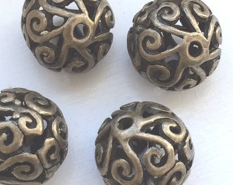 NEW - 6pcs- Antique bronze - Round Filigree beads, hollow beads - lead,nickle and cadmium free