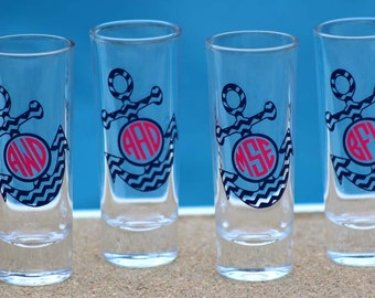 Personalized Chevron Anchor with Monogram Wedding Shot Glasses - Fun Bridesmaid Gift / Bachelorette Party Gifts
