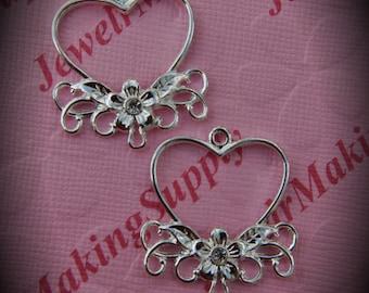 Genuine Silver Plated Swarovski Crystal Heart Chandelier Earrings In Clear