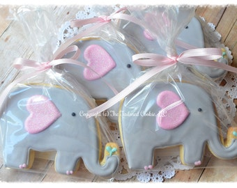 Elephant Baby Shower Shortbread Sugar Cookie Favors