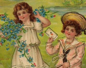 SALE Beautiful Antique UNUSED Valentine's Day Greetings Postcard Early 1900s ENGLISH Children in Pastel Colors