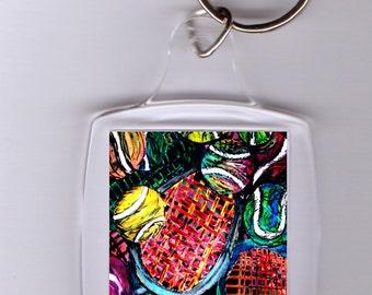 Abstract art, Modern, Tennis Ball art, keychain, vivid colors