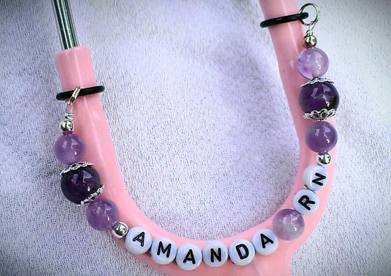 Personalized STETHOSCOPE Charm Chain, Amethyst With Own Name, Nurses, Physicians