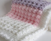 Pink, lilac and white. Handmade extra thickness crochet baby blanket/shawl. Ideal Christening / shower /new baby gift.