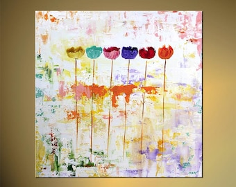 "Original Contemporary Colorful Abstract Floral Painting Modern Acrylic Art Tulips by Osnat - MADE-TO-ORDER - 30""x30"""