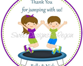 Trampoline Party Favor Tags - Twins/Siblings