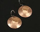 Large Hammered Copper Earrings, Dangle Earrings, Large Earrings, Large Copper Earrings