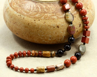 Jasper and Black Onyx Necklace, Red Creek Jasper, Red Jasper, Jasper Necklace, Red Necklace, Strand Necklace