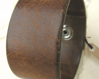 Mens Brown Leather Cuff Distressed Texture Tough Bracelet with Snap BRN-88-1